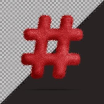 Hashtag-symbol mit realistischem 3d-fell