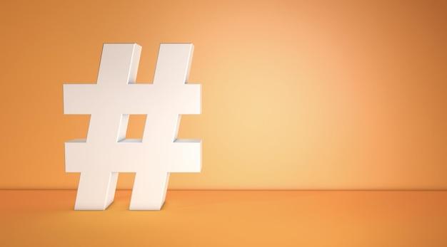 Hashtag-symbol-rendering des 3d-modells