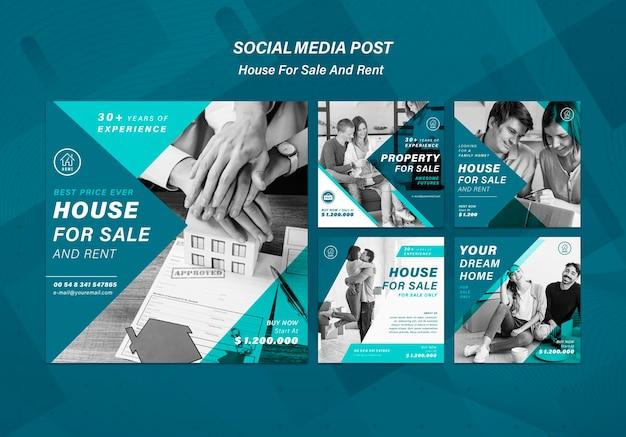 Haus, das social-media-beiträge verkauft