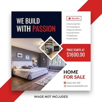 Haus zum verkauf social media banner oder quadratische flyer vorlage