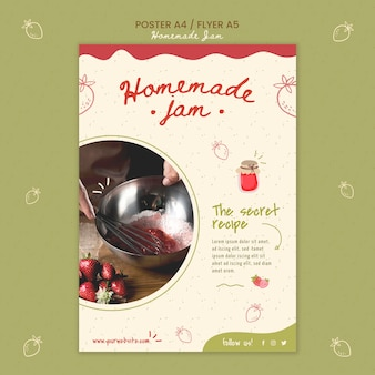 Hausgemachte marmelade flyer vorlage