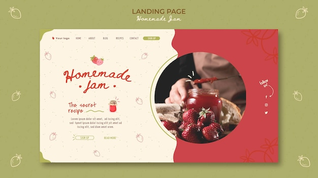 Hausgemachte marmelade landing page vorlage