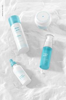 Hautpflege routine szene mockup, draufsicht