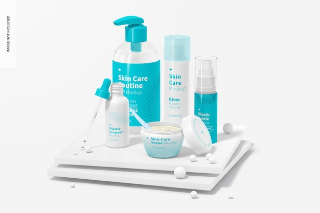 Hautpflege-routine-szenenmodell, perspektive