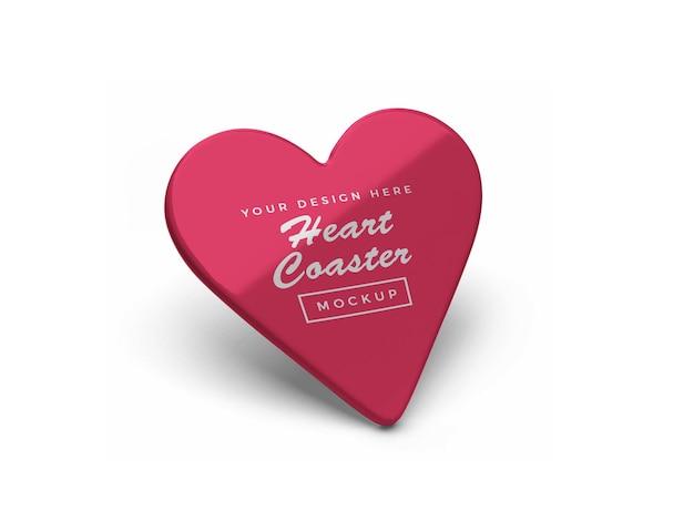 Heart coaster mockup design isoliert