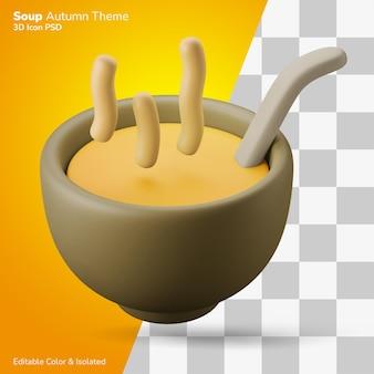 Heiße suppengerichte 3d-darstellung rendering 3d-symbol editierbar isoliert