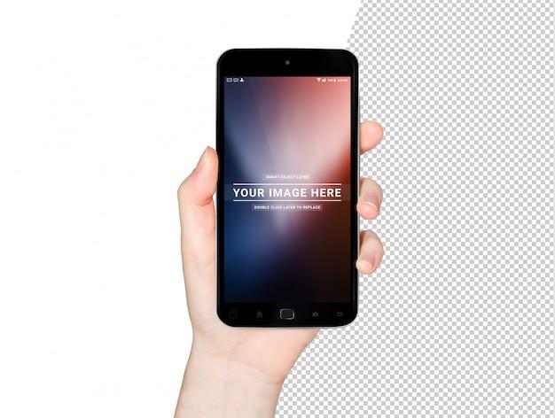Herausgeschnittene frauenhand, die modernes smartphonemodell hält