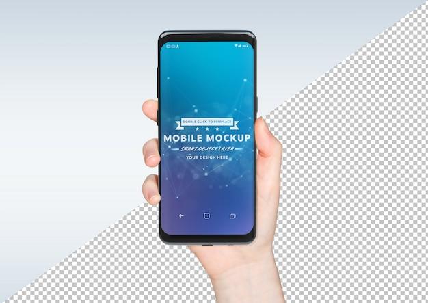 Herausgeschnittene frauenhand, die weißes smartphonemodell hält