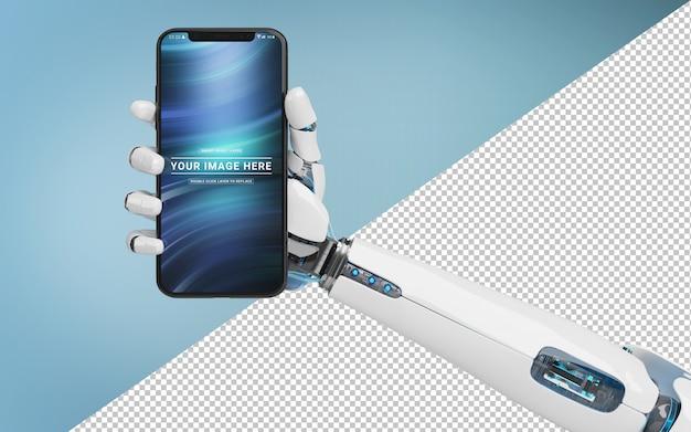Herausgeschnittene weiße roboterhand, die modernes smartphone modell hält