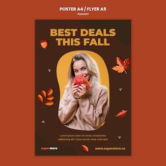 Herbst-sommer-sale-flyer-vorlage