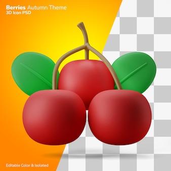 Herbstbeeren mit stiel und blättern 3d-rendering-symbol editierbar isoliert