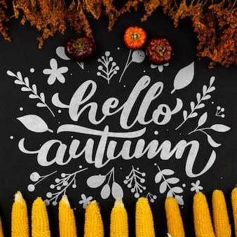 Herbstlicher rahmen der flachen lage auf schwarzem hintergrund