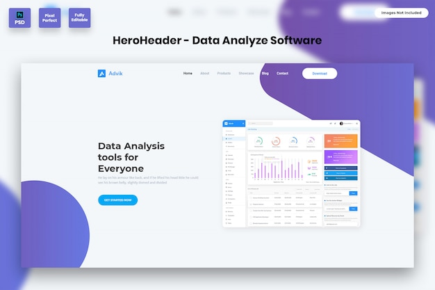 Hero header für datenanalysesoftware-websites