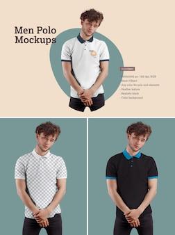 Herren polo mockups. das design ist einfach beim anpassen des bilddesigns und der farbe von t-shirt, manschette, knopf und kragen