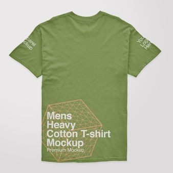 Herren t-shirt mockup aus schwerer baumwolle mit rücken