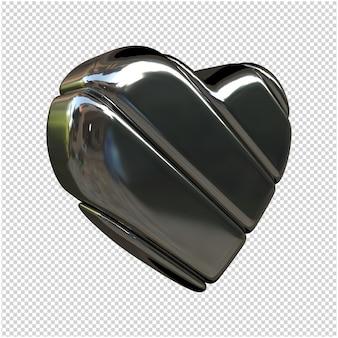 Herz aus silber 3d-rendering
