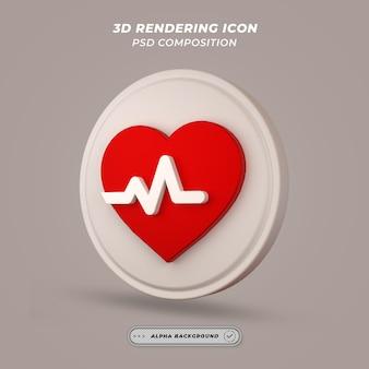 Herzschlag-symbol beim 3d-rendering