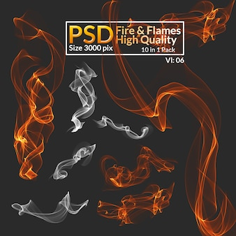 Hi-res isoliertes feuer und rauch