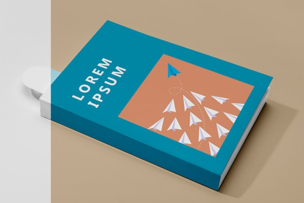 High angle book mock-up mit lesezeichen