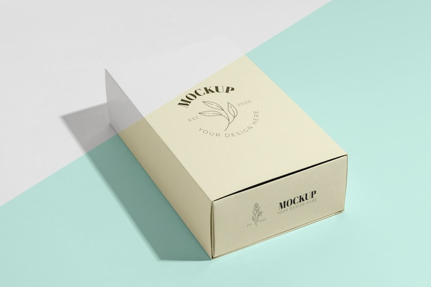 High angle box mock-up branding