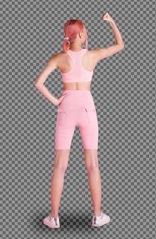 Hintere seitenansicht in voller länge von 20er jahren asiatin rosa sterbendes haar, sport-bh kurze hose und schuhe. weibliches mädchen üben yoga, fitnessrosa halten hand starken erfolg auf weißem hintergrund isoliert