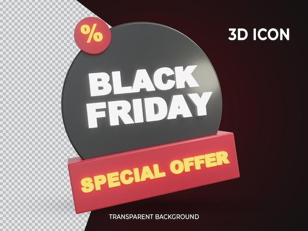Hochwertiges 3d-isoliertes schwarzes freitag-sonderangebot transparentes symbol