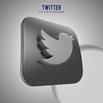 Hochwertiges twitter 3d gerendertes symbol