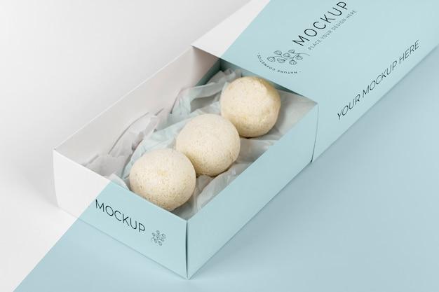 Hochwinkel-badebomben im box-modell