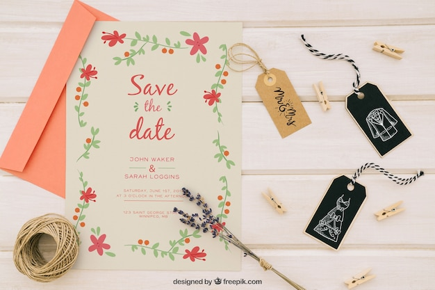Hochzeit mock up mit einladung und ergänzungen