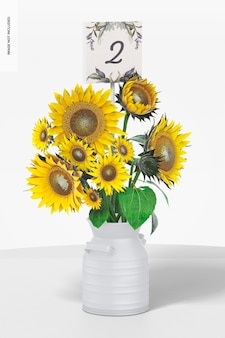Hochzeit tischnummernstab mit vase mockup