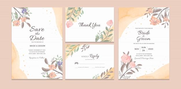 Hochzeits-einladungs-karten-schablone mit aquarell-blumenrahmen-dekorationen