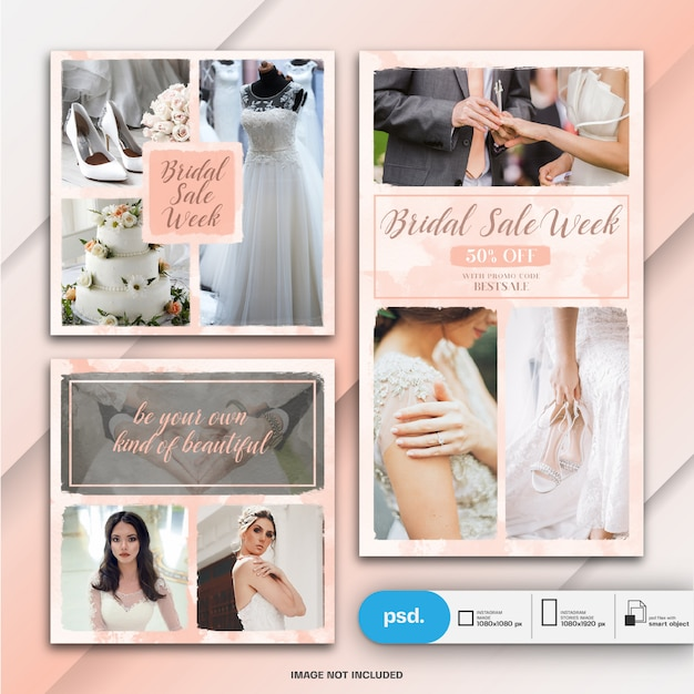 Hochzeits-instagram-geschichte und quadratische beitrags- oder fahnenschablone