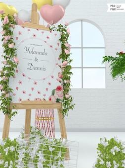 Hochzeitsbrautbanner-modell