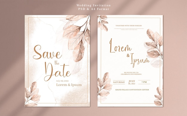 Hochzeitseinladung mit aquarell-roségold-blume