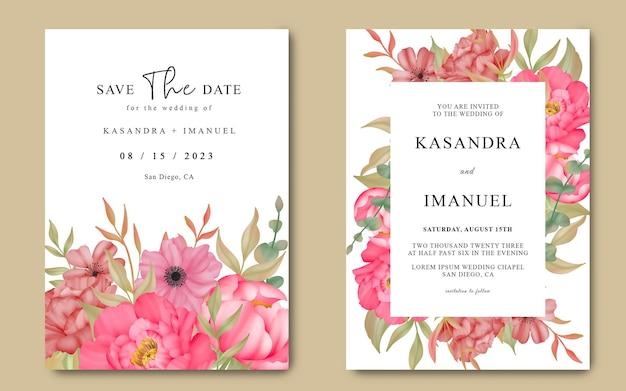 Hochzeitseinladung mit blumen in aquarellmalerei