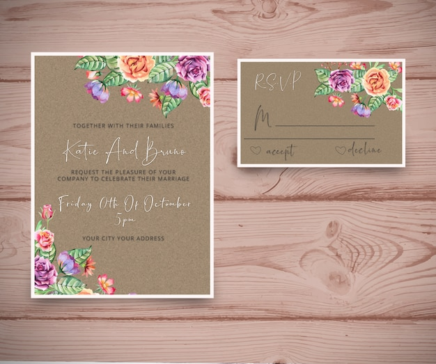 Hochzeitseinladung mit rsvp karte