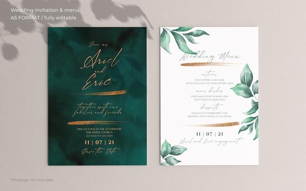 Hochzeitseinladung und menüvorlage mit schönen blättern