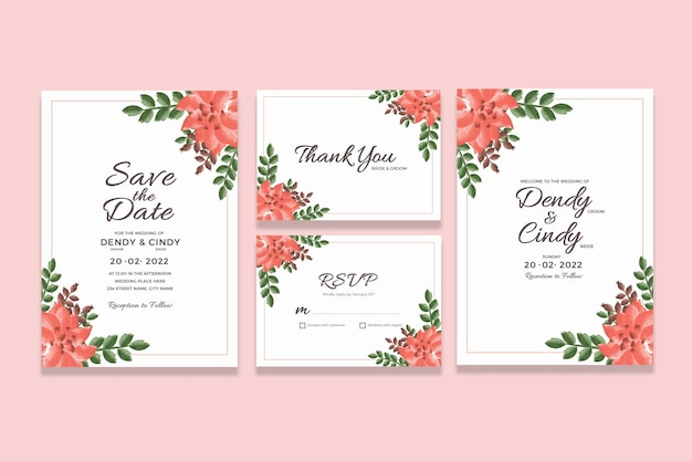 Hochzeitseinladungs-kartenschablone mit aquarell-blumenrahmen-dekorationen