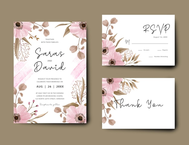 Hochzeitseinladungskarte mit blumendekoration und aquarellpinseleffekt