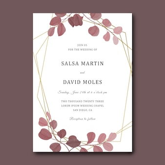 Hochzeitseinladungskarte mit geometrischem rahmen und aquarell-eukalyptus-blattschablone