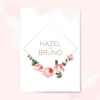 Hochzeitseinladungskarte mit rosen verziert