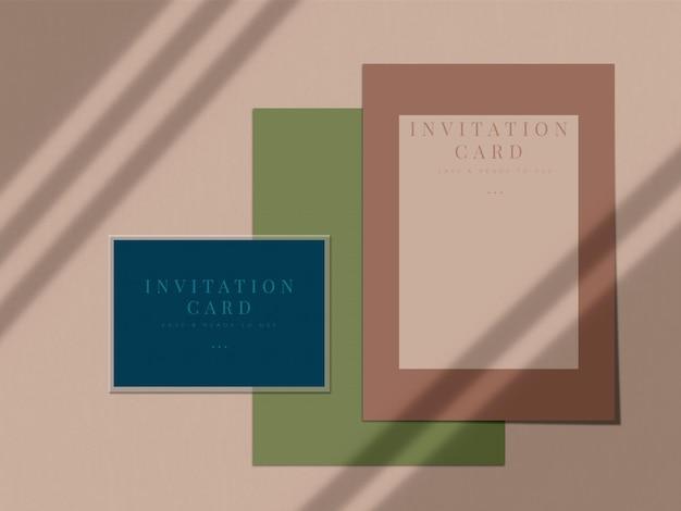 Hochzeitseinladungskarte modellentwurf für präsentationsgrußkarte oder einladungsentwurf mit schattenüberlagerung