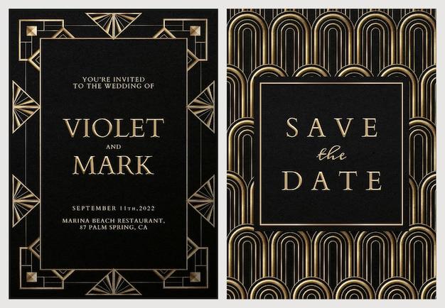 Hochzeitseinladungskarte psd-set-vorlage mit geometrischem art-deco-stil auf dunklem hintergrund