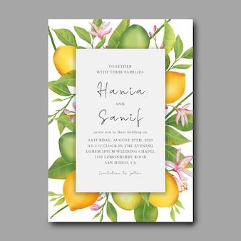Hochzeitseinladungskarte und rsvp-karte mit zitronenfruchthintergrund