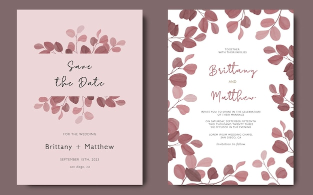 Hochzeitseinladungskartenschablone mit aquarell-eukalyptus-blattschablone