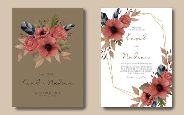 Hochzeitseinladungskartenschablone mit aquarellblumenrahmen