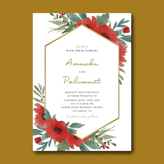 Hochzeitseinladungskartenschablone mit aquarellblumenstrauß und goldrahmen