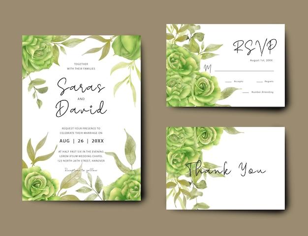 Hochzeitseinladungskartenschablone mit aquarellgrünem rosenblumenstrauß