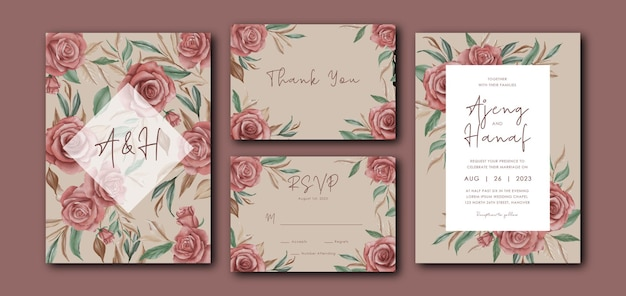 Hochzeitseinladungskartenschablone mit aquarellrosenblumendekoration