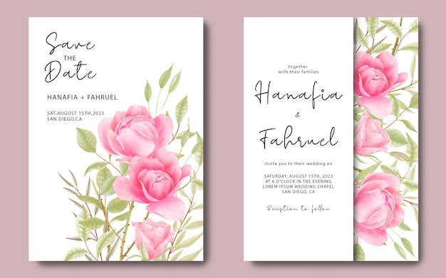 Hochzeitseinladungskartenschablone mit aquarellrosenblumenhintergrund Premium PSD
